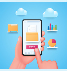online voting concept in 3d style vector image