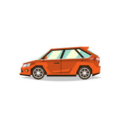 Orange car hatchback side view transport for vector
