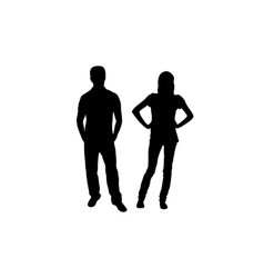 People standing and activity silhouettes vector