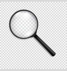 Photo-realistic 3d black magnifying glass vector