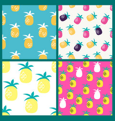 pineapple seamless pattern background collection vector image