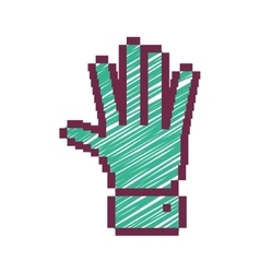 Pixelated open hand with green striped vector