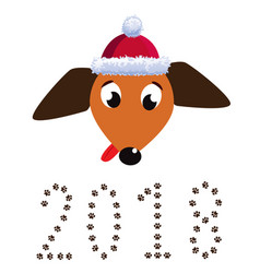 Portrait of dachshund dog dressed in santas hat vector