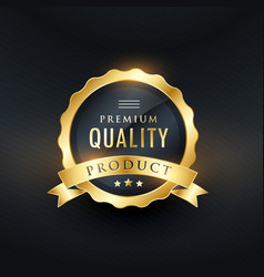 Premium quality product golden label design vector