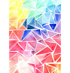 Rainbow colorful triangle shape watercolor vector