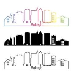 Raleigh V2 skyline linear style with rainbow vector