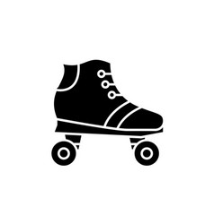 roller skates black icon sign on isolated vector image