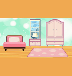 Room with pink bed and closet vector