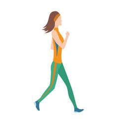 Running women in flat design style sport vector