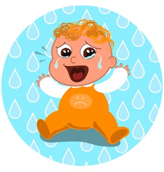 sad crying baby vector image