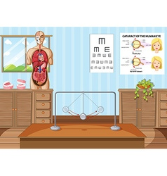 Science classroom with equipments and charts vector