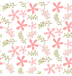 Seamless pattern with cute pink floral vector
