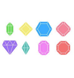 set shape diamond variety gem stones vector image
