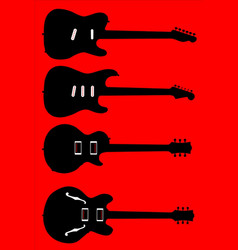 silhouette guitar collection vector image