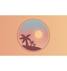 Silhouette of palm and sun scenery vector image
