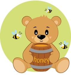 Sitting cartoon bear and honey vector