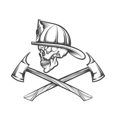 Skull in fire helmet and axes vector
