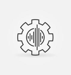 Sound wave inside cog wheel concept line vector