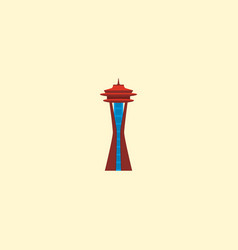 Space needle icon flat element vector