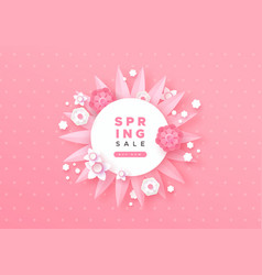 spring sale template with pink paper cut flower vector image