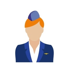Stewardess icon flat vector image