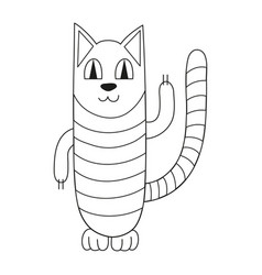 Striped cat smiling vector