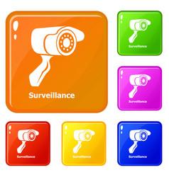 surveillance icons set color vector image