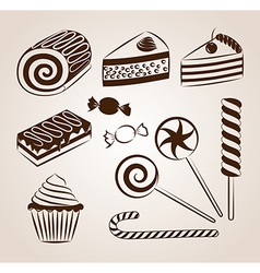 Sweet pastry collection vector