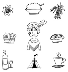 Thanksgiving black white in doodle vector image