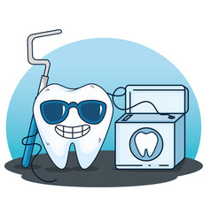 Tooth care with excavator tool and dental floss vector