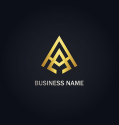triangle a initial gold logo vector image
