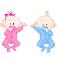 twins hold the pacifiers vector image