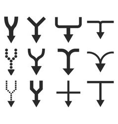 Unite Arrows Down Flat Icon Set vector