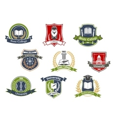 University and college school retro heraldic icons vector