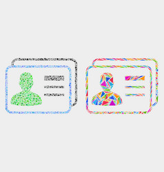 User cards mosaic icon triangles vector