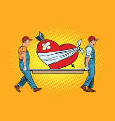 Valentine wounded heart in love carry movers vector