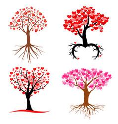 Valentines hearts trees set vector
