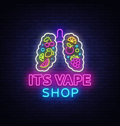 Vape shop neon sign vaping store logo vector