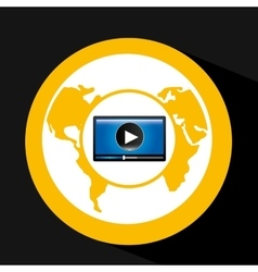 Video player globe interface design vector