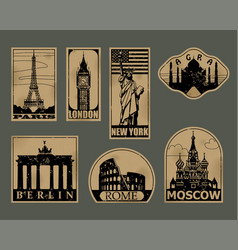 Vintage paper landmarks travel labels vector
