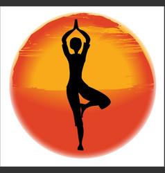 vrksasana yoga pose vector image
