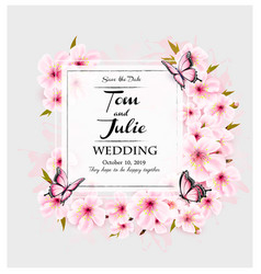 wedding invitation desing with pink flowers and vector image