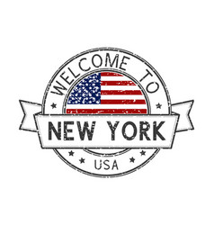 welcome to new york usa stamp colored decorative vector image