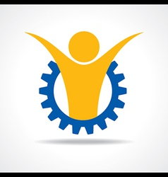 Welcoming person concept man icon in gear wheel vector image