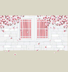 White wall and windows with flowers vector