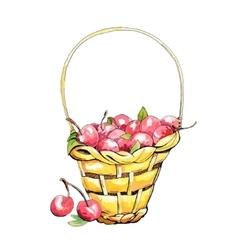 Wicker cherry basket vector