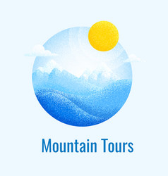 winter mountain landscape retro banner vector image