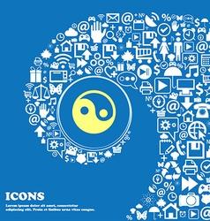 Ying yang sign symbol nice set of beautiful icons vector