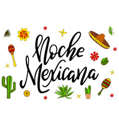 mexican card with bright lettering modern vector image