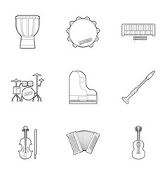 musical tools icons set outline style vector image vector image